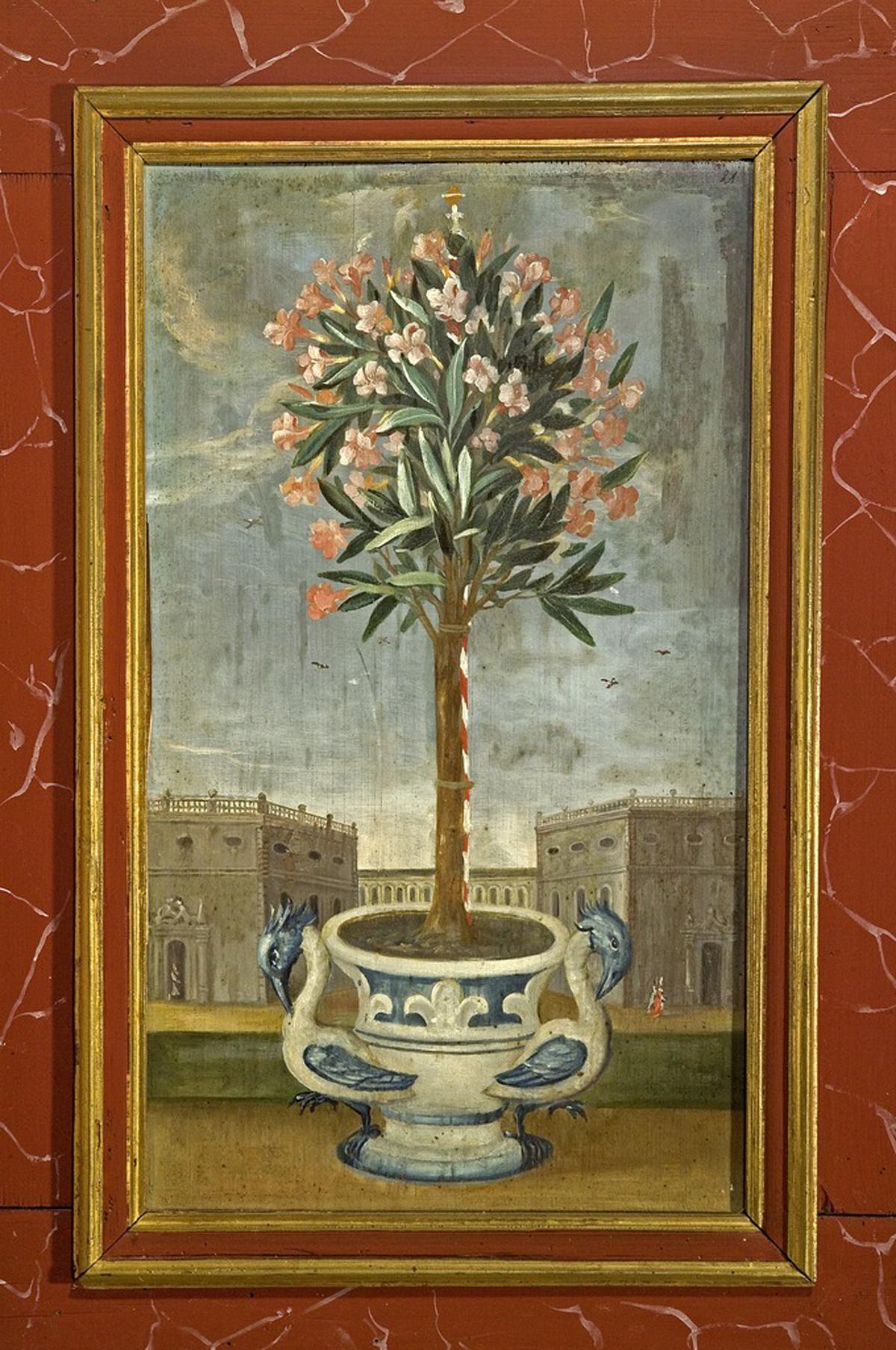 Oleander, Lambrisbild im Rittersaal, Schloss Weikersheim; Foto: Landesmedienzentrum Baden-Württemberg, Arnim Weischer