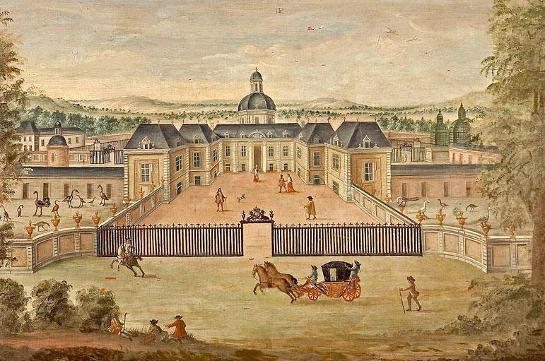 Menagerie in Versailles, Lambrisbild im Rittersaal, Schloss Weikersheim; Foto: Staatliche Schlösser und Gärten Baden-Württemberg, Arnim Weischer