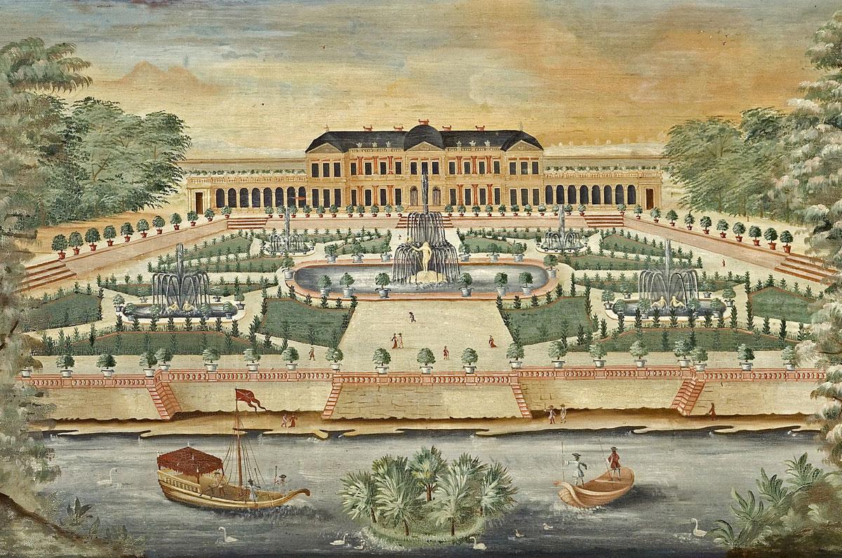 Château de Clagny, Lambrisbild im Rittersaal, Schloss Weikersheim; Foto: Staatliche Schlösser und Gärten Baden-Württemberg, Arnim Weischer