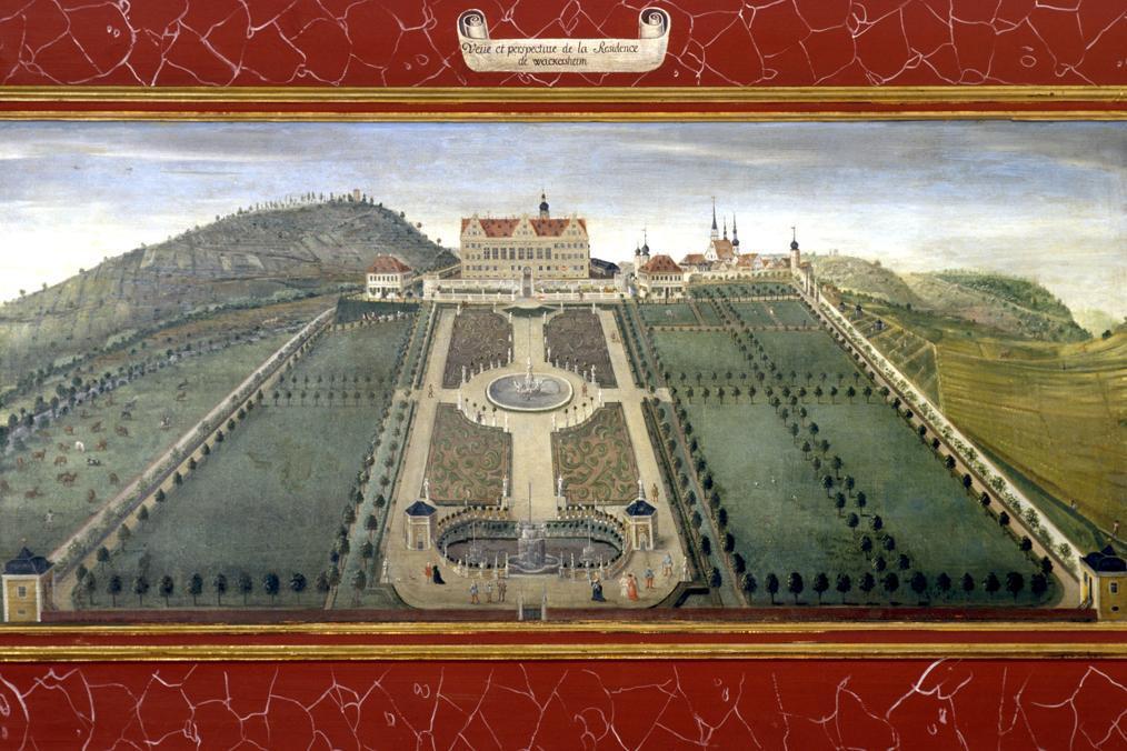 Schloss Weikersheim mit Gartenanlage, Lambrisbild im Rittersaal, Schloss Weikersheim