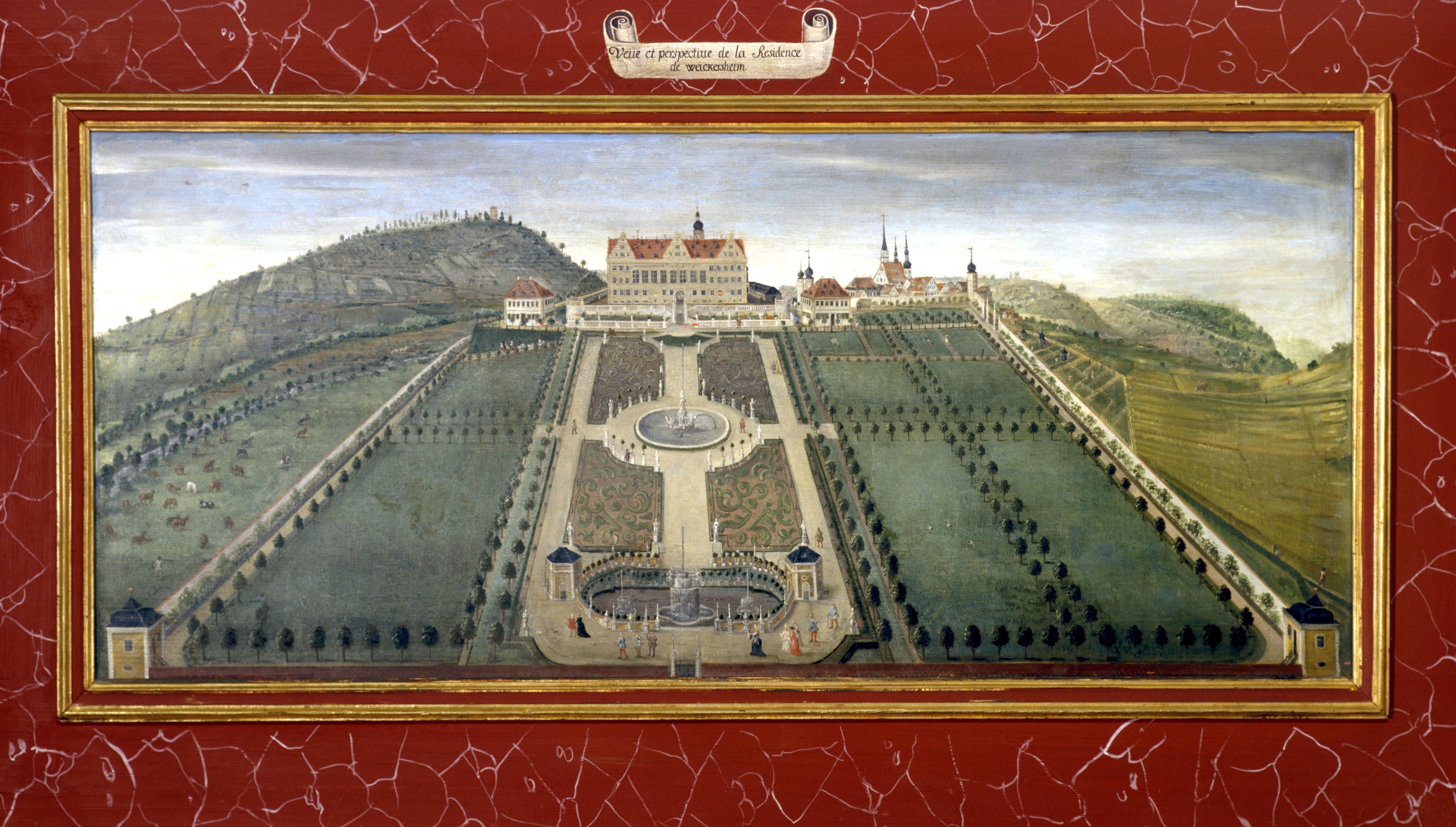 Ideale Gartenanlage, Lambrisbild im Rittersaal, Schloss Weikersheim; Foto: Staatliche Schlösser und Gärten Baden-Württemberg, Arnim Weischer