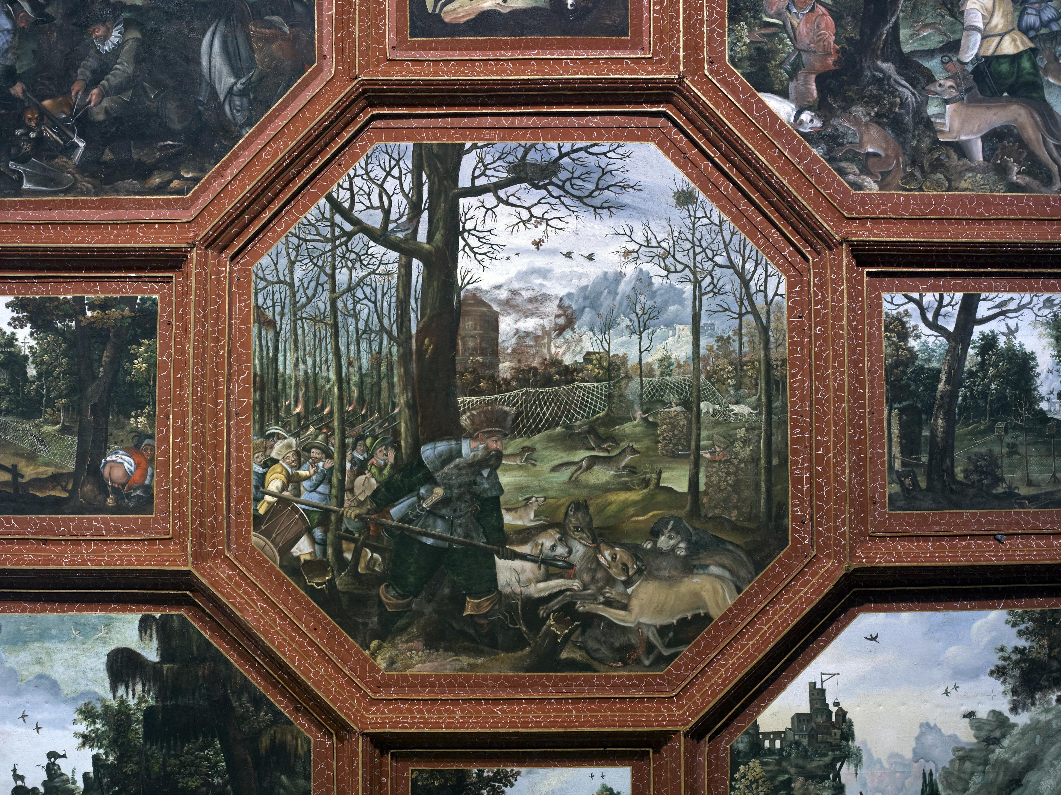 Hunting scene, wood boarding in the Knights' Hall; Photo: Staatliche Schlösser und Gärten Baden-Württemberg, Andrea Rachele