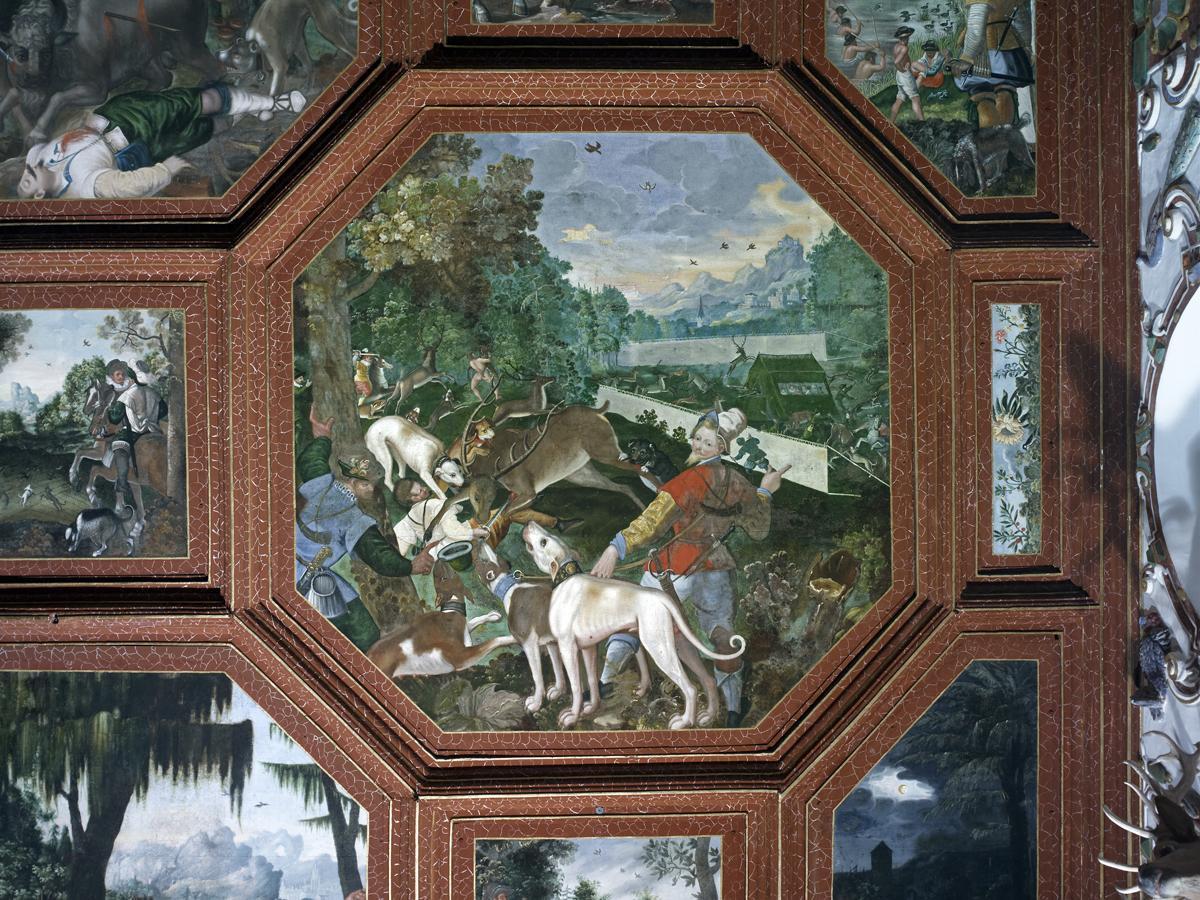 Jagdszene, Detail aus Wandvertäfelung, Rittersaal, Schloss Weikersheim; Foto: Staatliche Schlösser Gärten Baden-Württemberg, Andrea Rachele