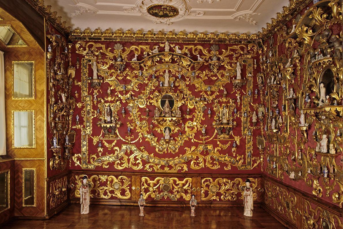 Prunkvoll verzierte Wand, Spiegelkabinett, Schloss Weikersheim