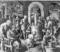 Laborraum Schloss Weikersheim, Kupferstich, um 1580; Foto: Deutsches Museum München