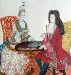 Gemälde: Hofdame und Hofherr beim Gesellschaftsspiel; Foto: Staatliche Schlösser und Gärten Baden-Württemberg, Felix Muhle