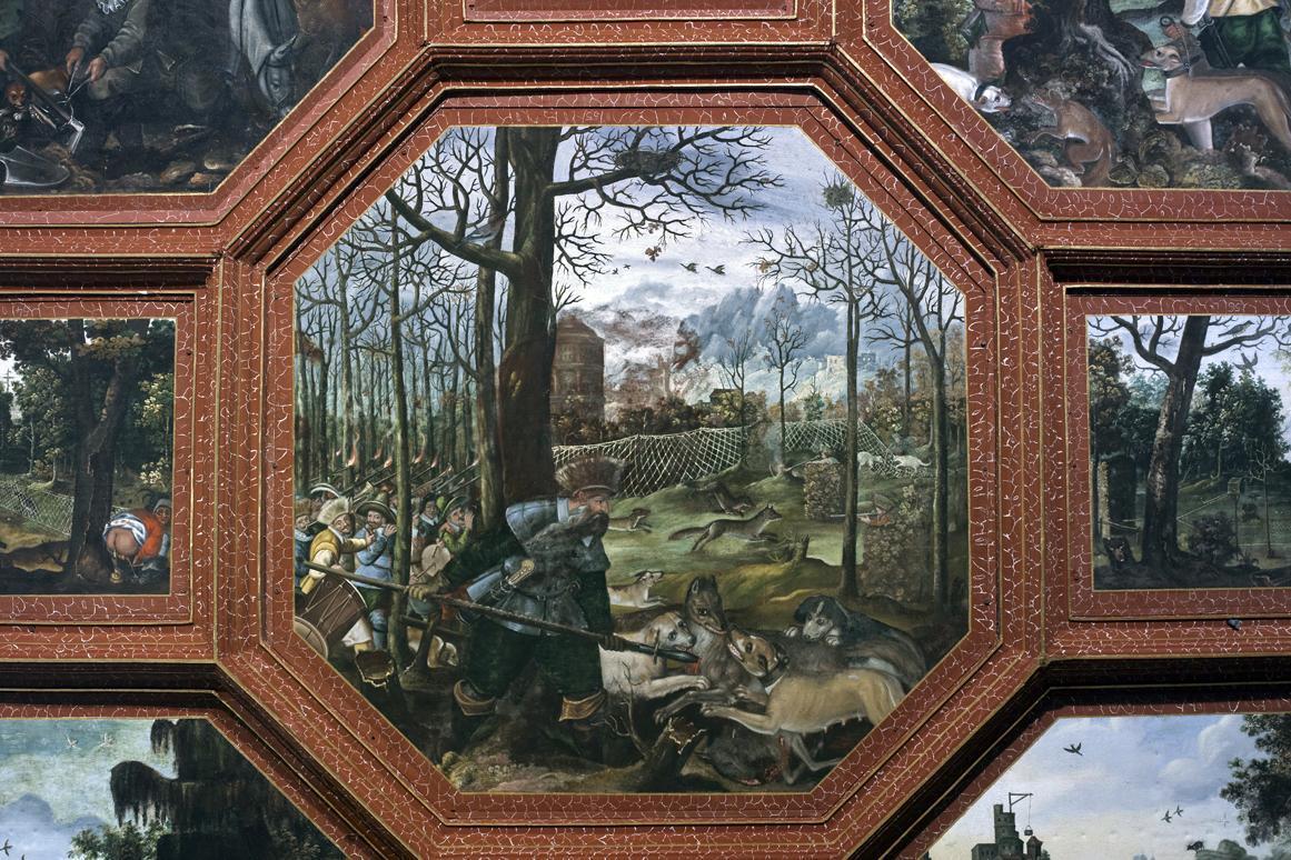 Jagdszene, Detail aus der Deckenmalerei im Rittersaal, Schloss Weikersheim; Foto: Staatliche Schlösser und Gärten Baden-Württemberg, Andrea Rachele