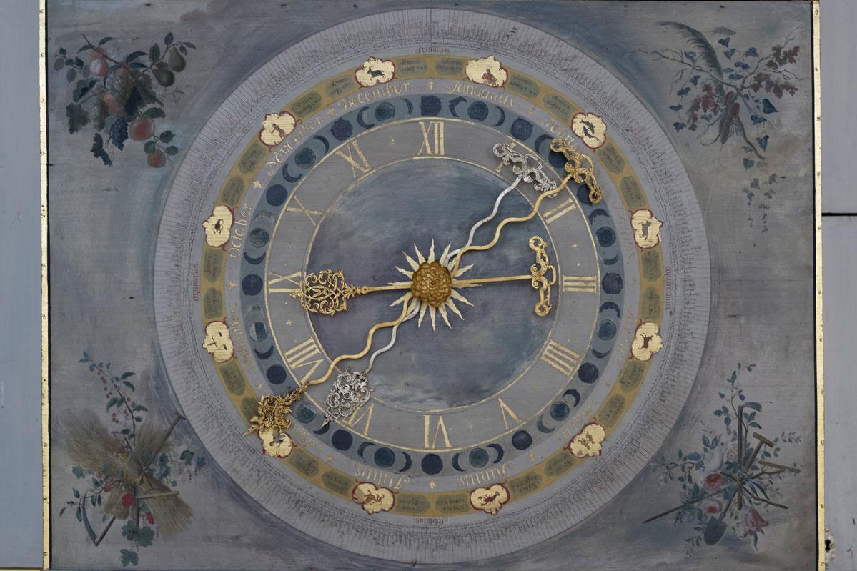 Die Uhr im Rittersaal von Schloss Weikersheim