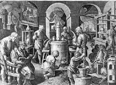 Laborraum Schloss Weikersheim, Kupferstich um 1580; Foto: Deutsches Museum München
