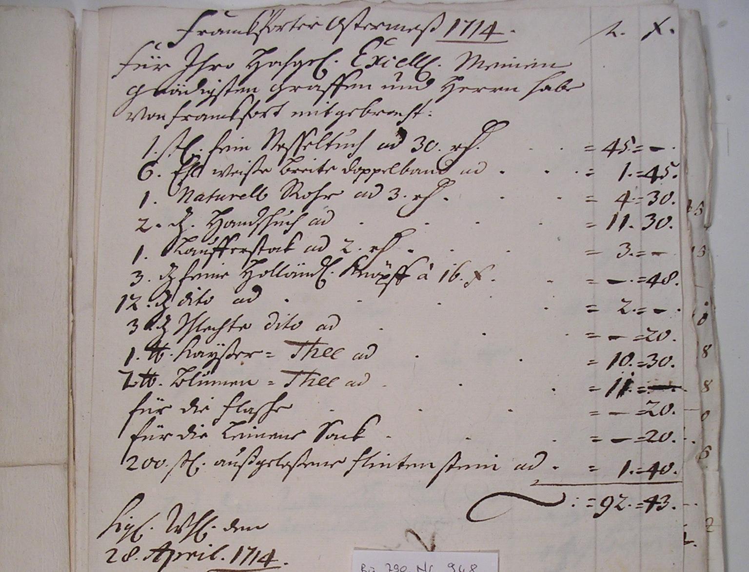 Cammer-Cassa-Bücher, Detail Rechnung 1714; Foto: Zentralarchiv Hohenlohe, Staatsanzeiger für Baden-Württemberg