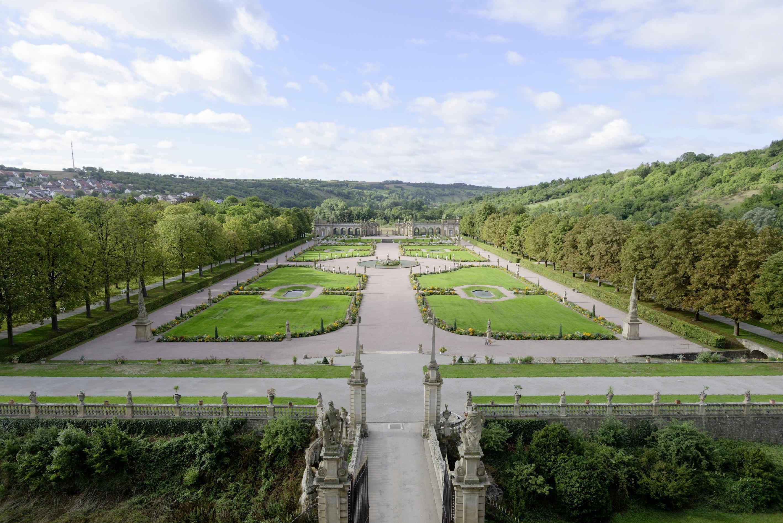 Blick auf das Parterre des Schlossgartens Weikersheim