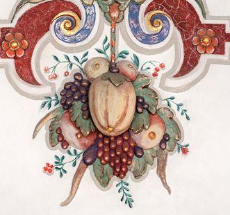 Exotisches Obst, Details aus den Reliefs des Ritersaals; Foto: Staatliche Schlösser und Gärten Baden-Württemberg, Günther Bayerl