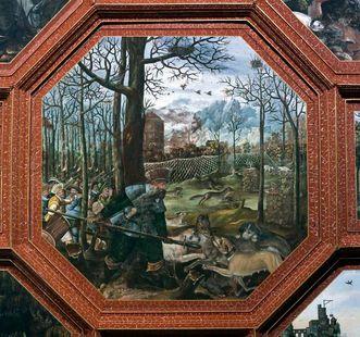 Jagdszene aus dem Deckengemälde des Rittersaals; Foto: Staatliche Schlösser und Gärten Baden-Württemberg, Andrea Rachele