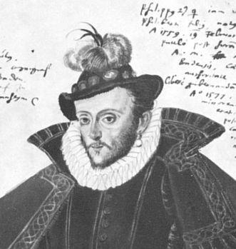 Philipp II. von Baden-Baden, Aquarellstudie von Tobias Stimmer