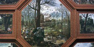 Jagdszene, Detail aus der Deckenmalerei im Rittersaal, Schloss Weikersheim