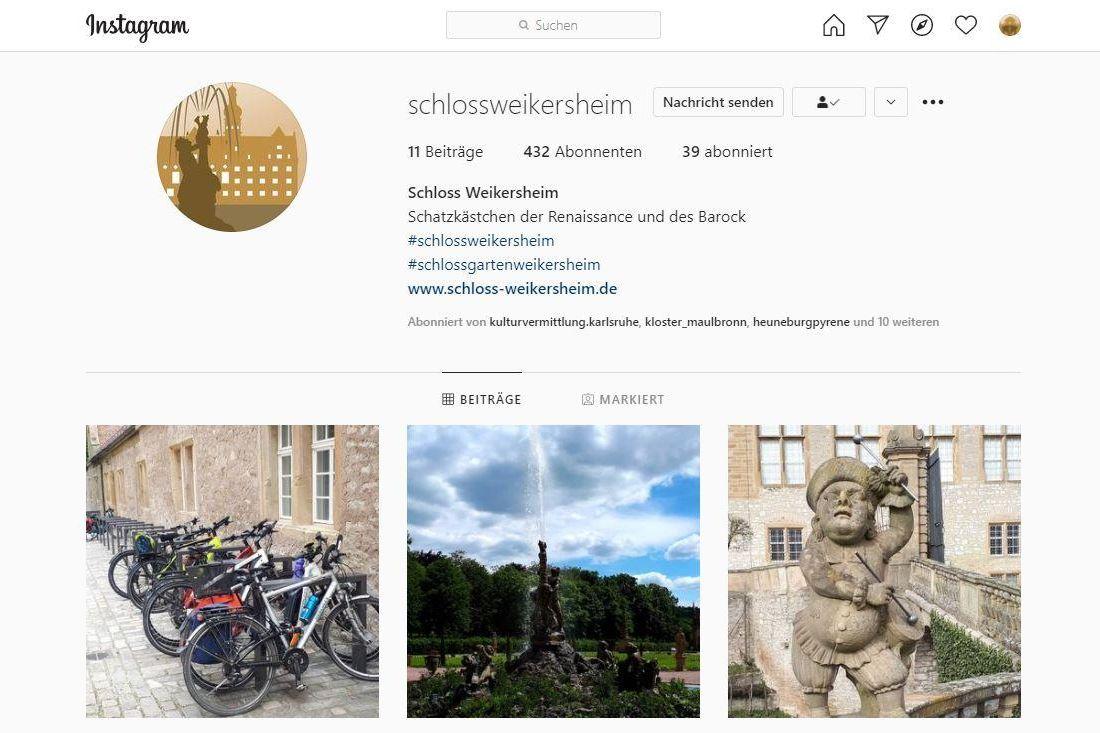 Schloss und Schlossgarten Weikersheim, Instagramseite