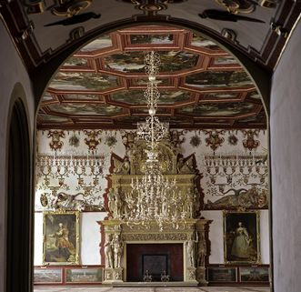 Weikersheim Palace, ornate fireplace in the Knight's Hall