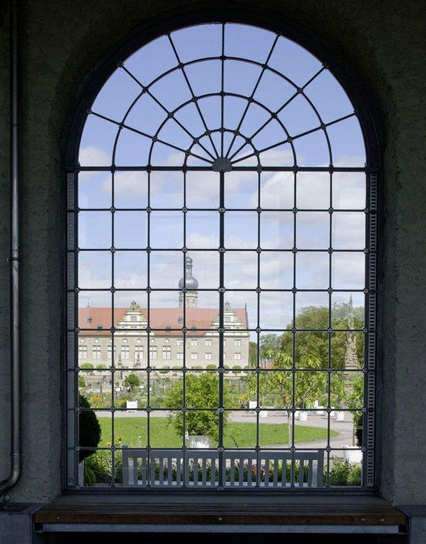 Weikersheim Palace and Gardens, View through the window of the orangery