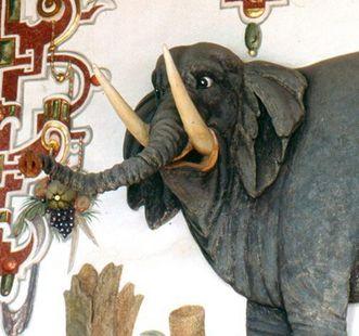 Detail des berühmten Elefanten im Rittersaal; Foto: Staatliche Schlösser und Gärten Baden-Württemberg, SV Weikersheim