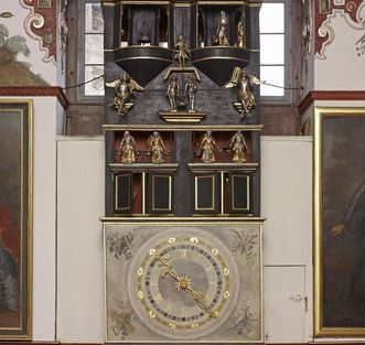 Weikersheim Palace, large clock in the Knight's Hall