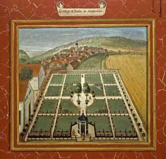 Lambrisbild, Rittersaal, Schloss Weikersheim: Gartenanlage beim Lusthaus in Schäftersheim