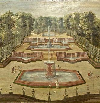 Blick auf drei Fontänen in Versailles, Lambrisbild im Rittersaal, Schloss Weikersheim