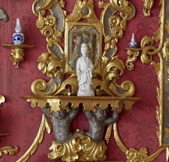 Porzellanfigur vor Spiegel, Spiegelkabinett, Schloss Weikersheim