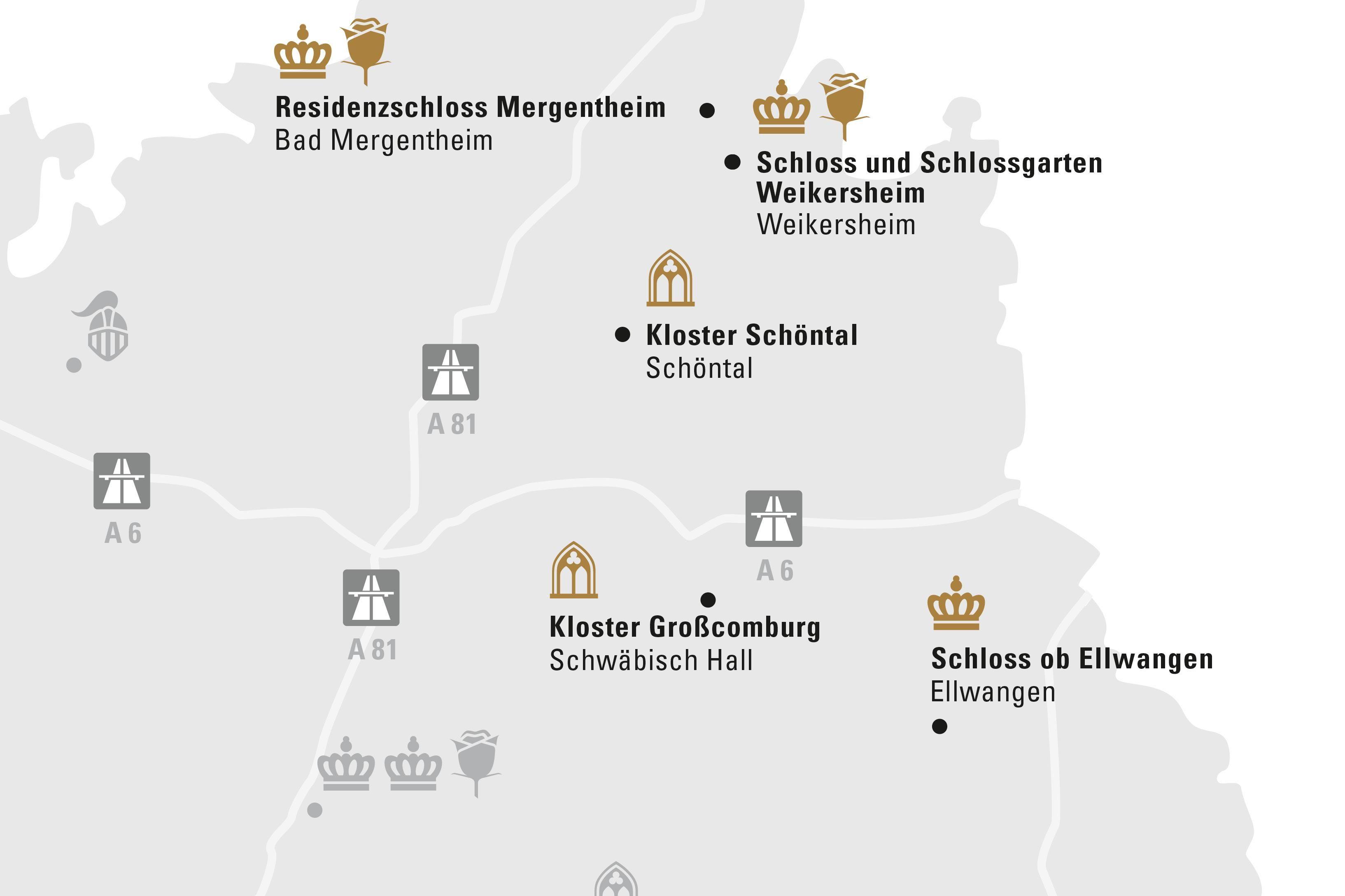 Region Hohenlohe & Ellwnagen; Illustration: Staatliche Schlösser und Gärten Baden-Württemberg, JUNG:Kommunikation GmbH