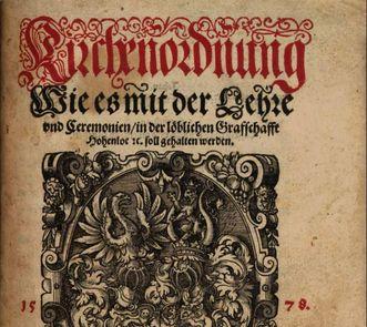 Hohenlohe Kirchenordnung, Nürnberg 1578, Foto: Bayrische Staatsbibliothek, gemeinfrei