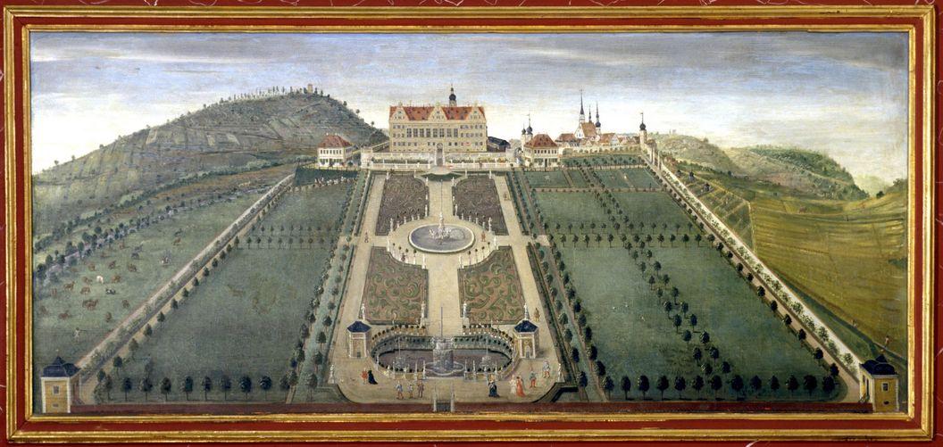 Ideale Gartenanlage, Lambrisbild im Rittersaal, Schloss Weikersheim