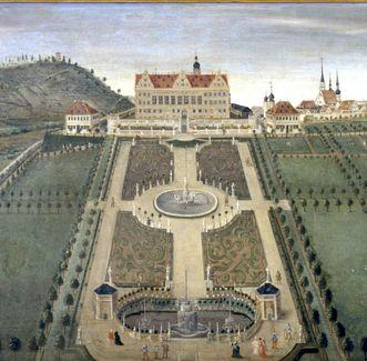 Schloss und Schlossgarten Weikersheim, Ansicht Weikersheim, Lambrisbild im Rittersaal